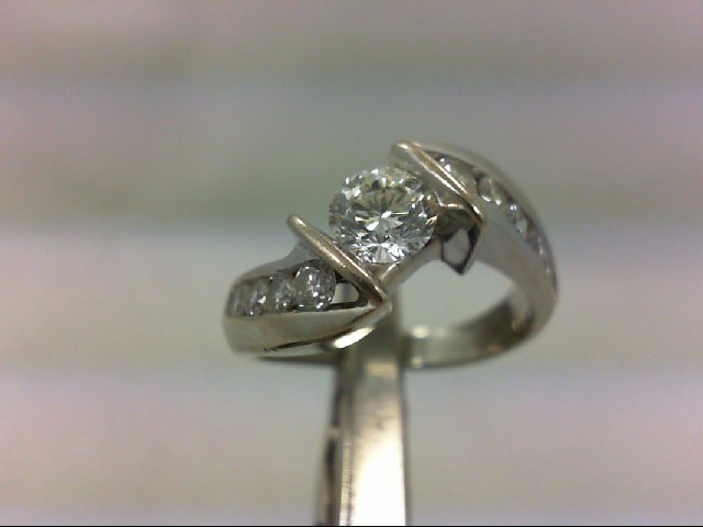 Lady's Diamond Engagement Ring 13 Diamonds 1.20 Carat T.W. 14K White Gold 5.31g
