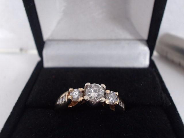 Lady's Gold-Diamond Anniversary Ring 3 Diamonds .80 Carat T.W. 14K Yellow Gold