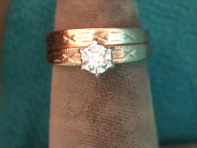 Lady's Diamond Wedding Set .05 CT. 10K Yellow Gold 1.6dwt