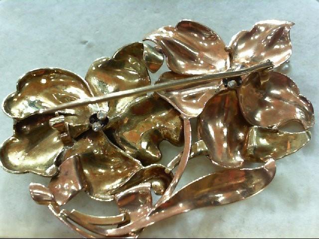 Pearl Gold-Diamond-Stone Brooch 9 Diamonds .27 Carat T.W. 14K 2 Tone Gold