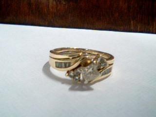 Lady's Diamond Wedding Set 17 Diamonds .83 Carat T.W. 14K Yellow Gold 3.5g