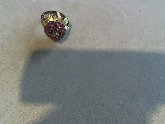 Synthetic Almandite Garnet Lady's Stone Ring 10K Yellow Gold 4.5g