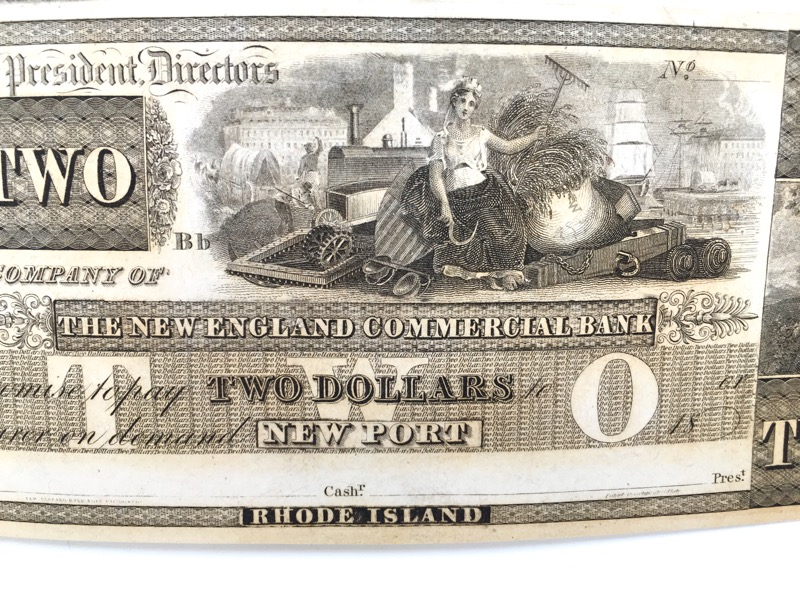 1800's Rhode Island New England Commercial Bank Newport $2 Note