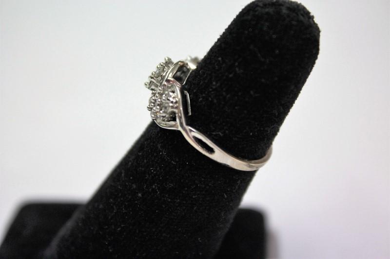 Lady's Diamond Cluster Ring 21 Diamonds .63 Carat T.W. 10K White Gold 3.3g