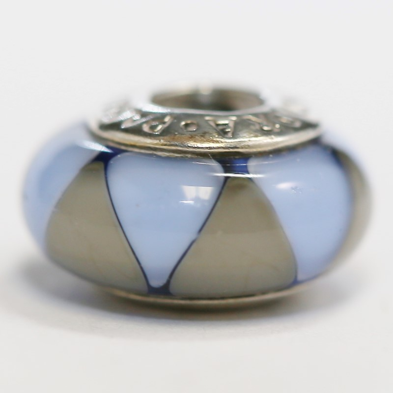 Pandora Blue & Grey Murano Glass Sterling Silver Ale Charm