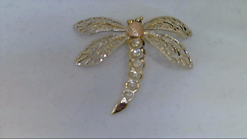 lady's 10k tri-color dragonfly pendant 2.65g