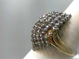 Lady's Diamond Cluster Ring 50 Diamonds 1.00 Carat T.W. 14K Yellow Gold 2.8dwt