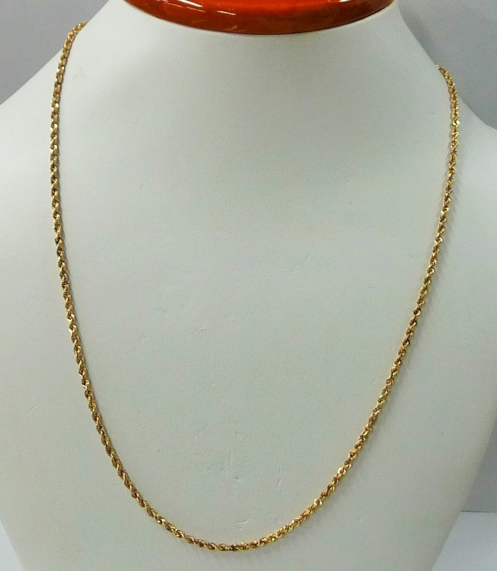 """20.5"""" Gold Rope Chain 10K Yellow Gold 1.6dwt"""