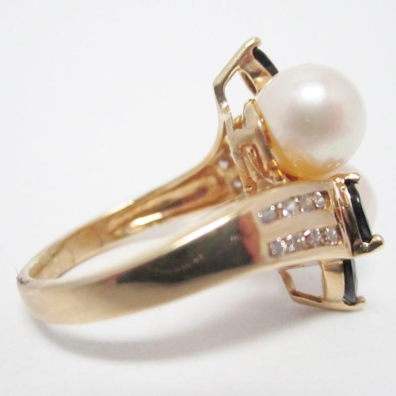 VINTAGE PEARL & 16 DIAMOND 14K YELLOW GOLD RING SIZE 4