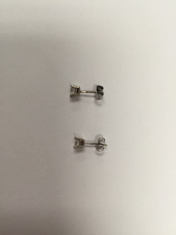Gold-Diamond Earrings 2 Diamonds .50 Carat T.W. 14K White Gold 1g