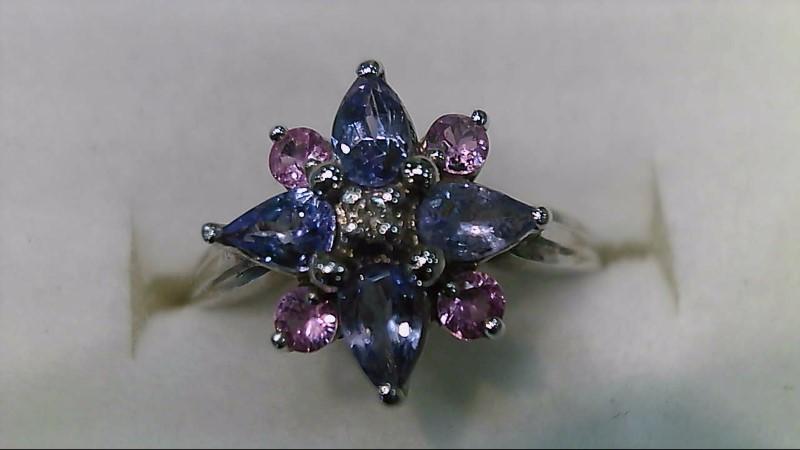 Synthetic Tanzanite Lady's Stone & Diamond Ring .01 CT. 14K Yellow Gold 3g