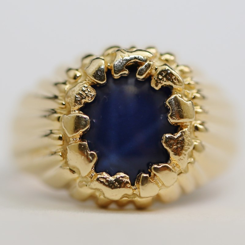 Star Sapphire Ring 14K Yellow Gold Size 9.5