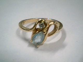 Blue Stone Lady's Stone & Diamond Ring .05 CT. 14K Yellow Gold 3g Size:6.5