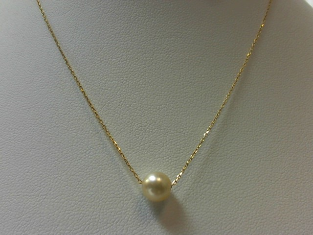 "16"" Pearl Stone Necklace 18K Yellow Gold 1.7g"