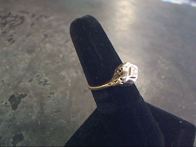 Synthetic Cubic Zirconia Lady's Stone Ring 10K Yellow Gold 1.4dwt