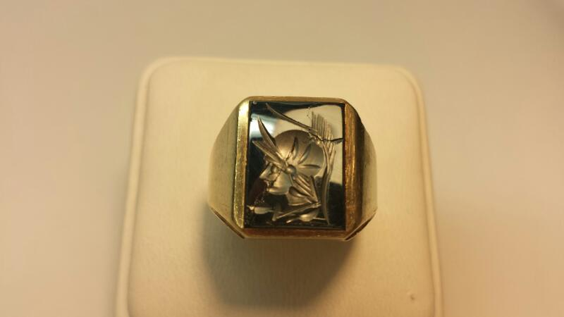 "10k Yellow Gold Ring with Grey Stone ""Trojan"" Engraving - 6.8dwt - Size 9.5"