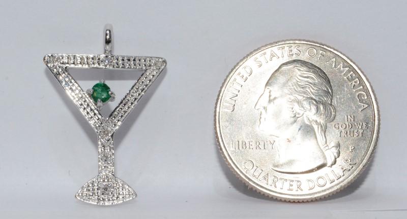 Adorable 14K White Gold Martini Glass Pendant w/ Diamond Stem & Emerald Olive
