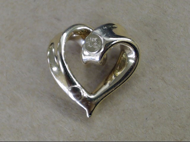 VINTAGE HEART PENDANT CHARM REAL 14K GOLD LOVE PROMISE VALENTINE