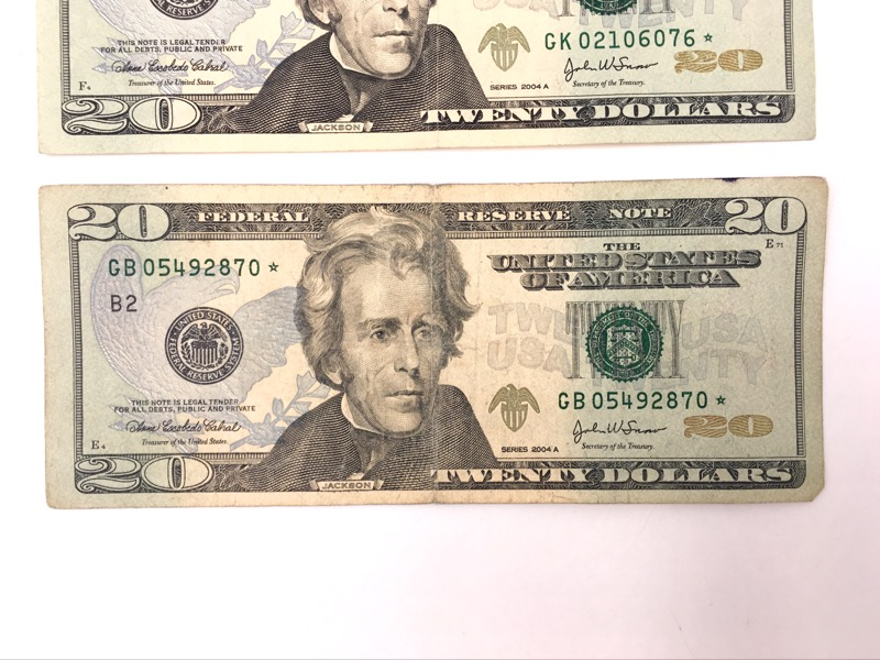 2004 A $20 Star Notes - Dallas & New York Serial No. - Lot of 3