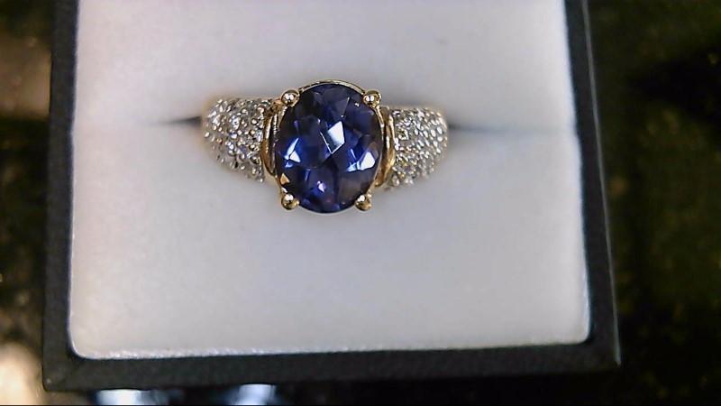 lady's 14k yellow gold oval ilolite rd diamond ring 5.9g