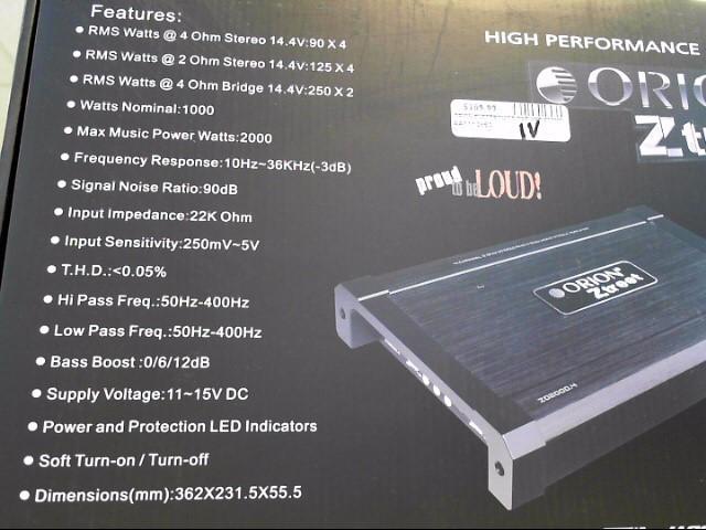 ORION ELECTRONICS Car Amplifier ZO20004