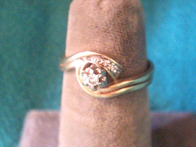 Lady's Diamond Wedding Set 3 Diamonds .05 Carat T.W. 14K Yellow Gold 2.1dwt