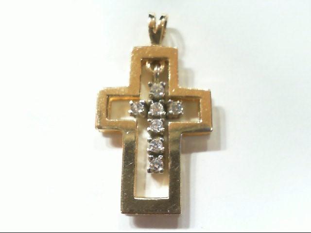 Gold-Multi-Diamond Pendant 7 Diamonds .14 Carat T.W. 14K 2 Tone Gold 2.6g