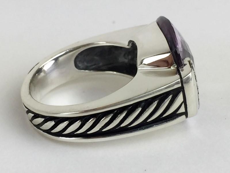 David Yurman Amethyst Diamond Sterling Silver Ring 12.92g