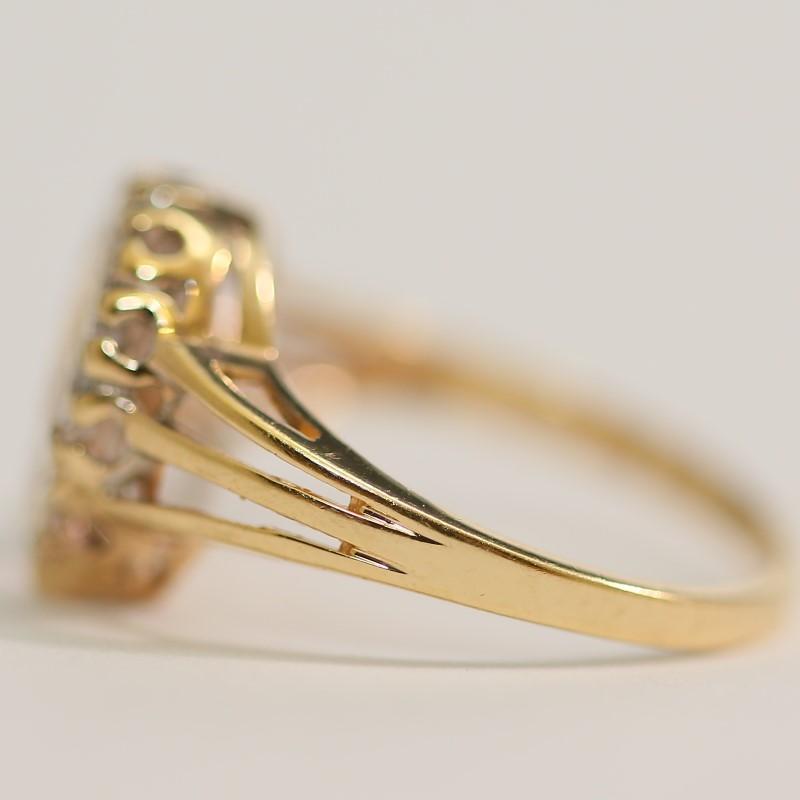 Round Brilliant Diamond Horse Shoe 14K Yellow Gold Ring Size 6