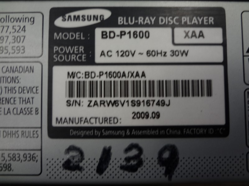 SAMSUNG BD-P1600 SMART BLU-RAY DISC PLAYER WITH REMOTE 2009