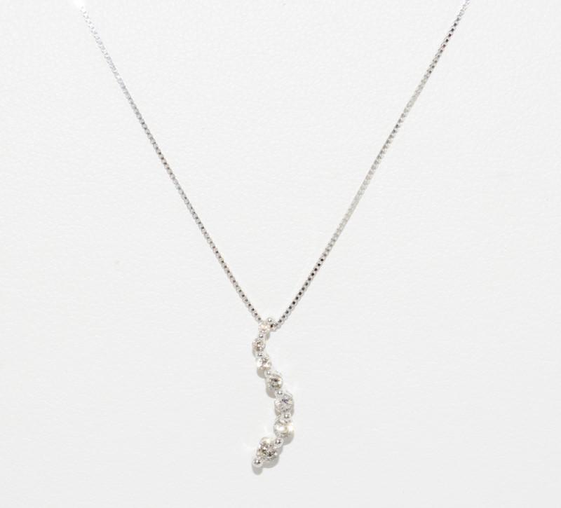 "10K White Gold 18"" Diamond Journey Pendant Necklace w/ Box Chain"