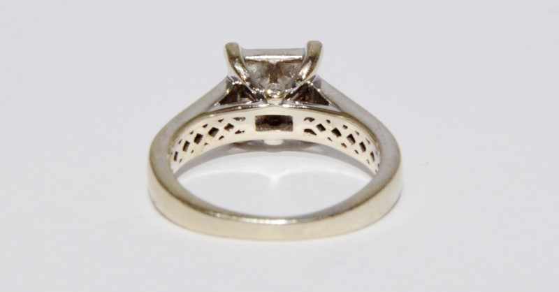 14K White Gold Cathedral Set Princess Diamond Cluster Engagement Ring sz 5.5