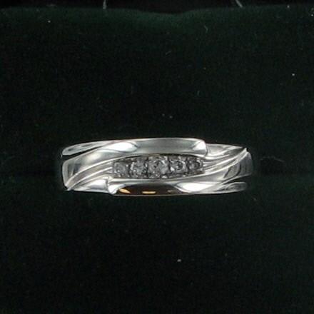 Gent's Gold-Diamond Wedding Band 5 Diamonds .10 Carat T.W. 10K White Gold