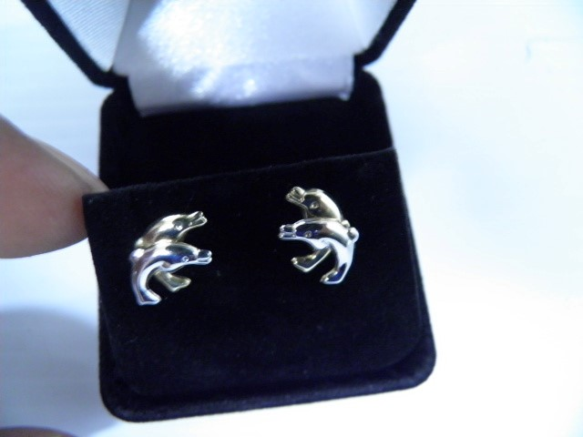 2 Tone Gold Dolphin Earings