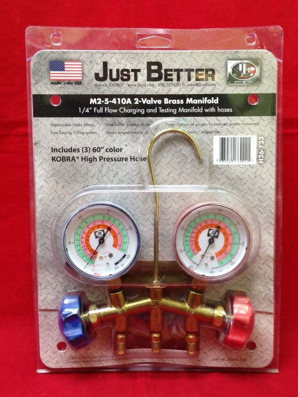 JUST BETTER JBIND M2-5-410A 2-VALVE BRASS MANIFOLD GAUGES