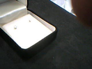 Gold-Diamond Earrings 2 Diamonds .28 Carat T.W. 14K White Gold 0.03g