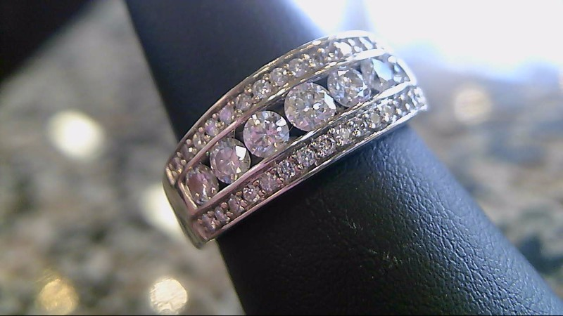 Lady's Diamond Wedding Band 22 Diamonds .85 Carat T.W. 14K White Gold 5.8g