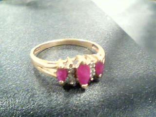 10K 3 RUBY STONES Synthetic Ruby Lady's Stone & Diamond Ring RUBY