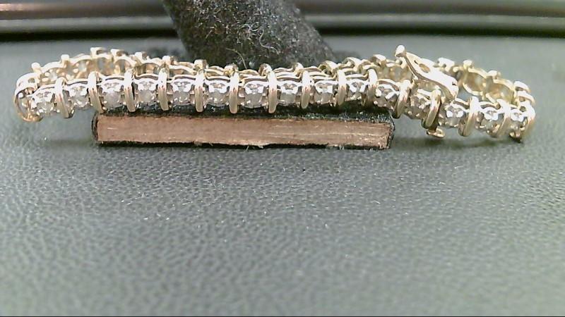 Gold-Diamond Bracelet 37 Diamonds .74 Carat T.W. 10K Yellow Gold 8.1g
