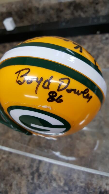 GB Packers Signed Ron Kramer & Boyd Dowler Micro Mini Helmet
