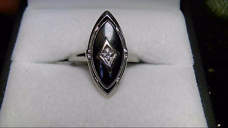 Onyx Lady's Stone & Diamond Ring .01 CT. 10K White Gold 2.2g Size:7