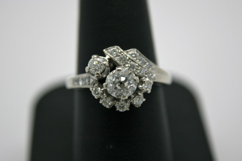 ANTIQUE STYLE DIAMOND RING 14K WHITE GOLD