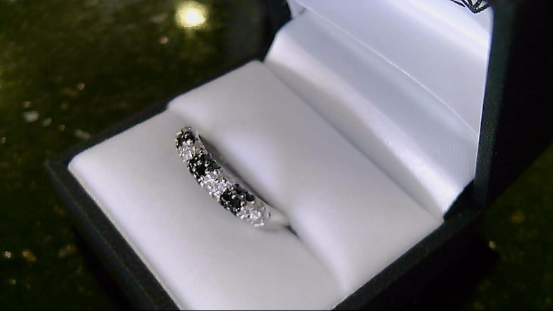 Black and White Stone CZ Sterling Silver Ring