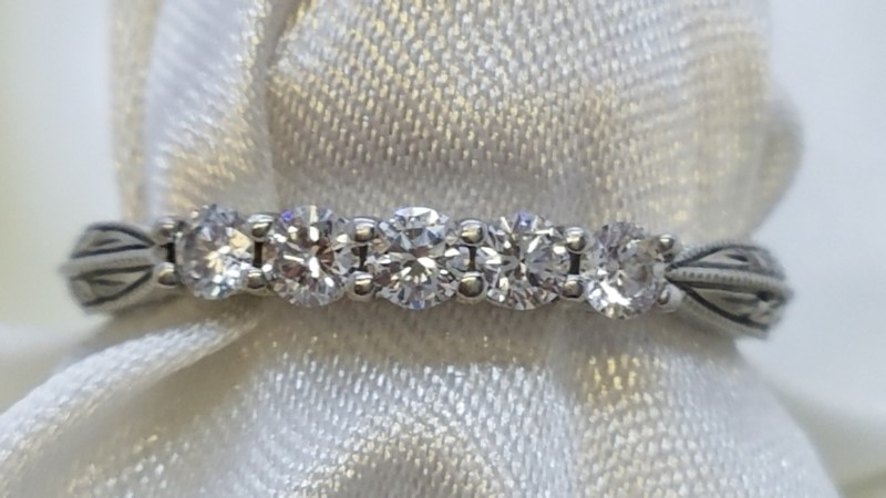 Lady's Platinum-Diamond Anniversary Ring 5 Diamonds .50 Carat T.W. 950 Platinum