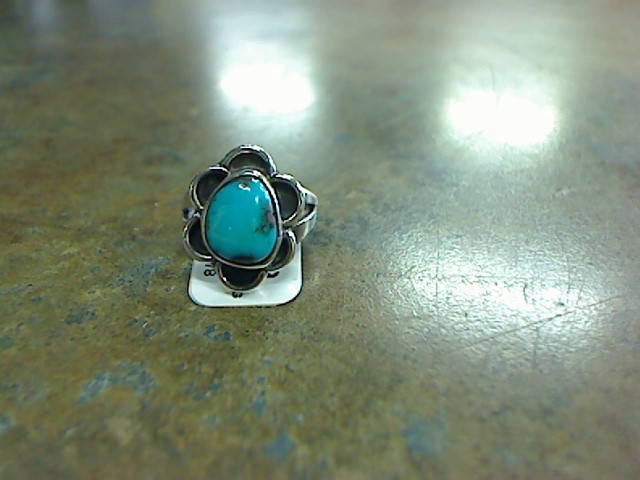 Synthetic Turquoise Lady's Silver & Stone Ring 925 Silver 4g