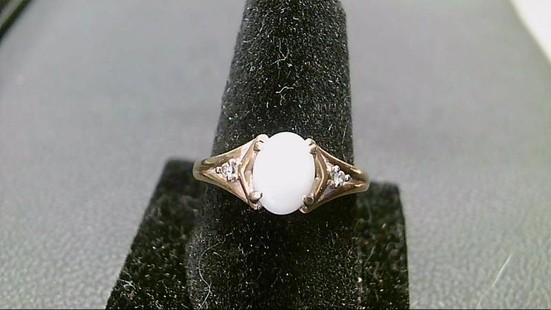 Synthetic Opal Lady's Stone & Diamond Ring 2 Diamonds .02 Carat T.W.