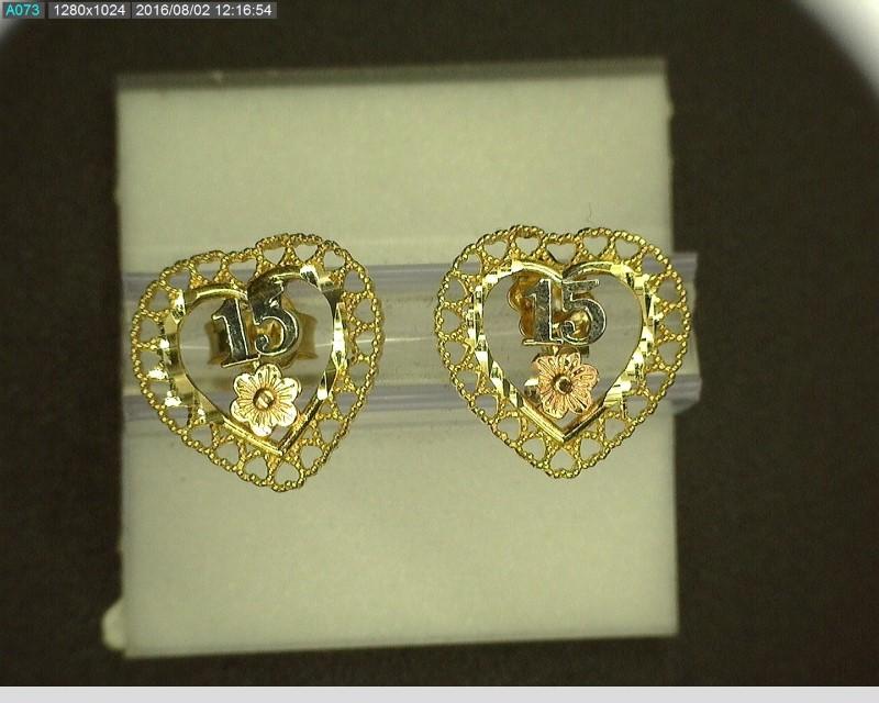 "Gold Earrings 10K Tri-color Gold ""15"" 1.6g"
