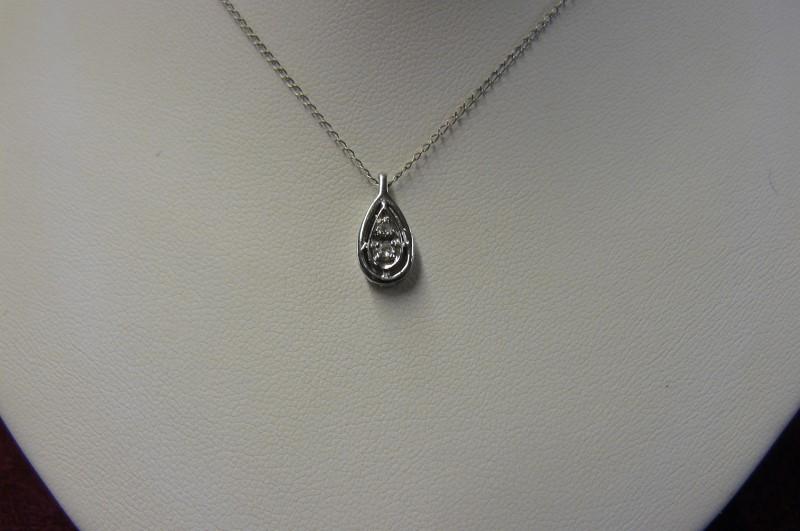 "18"" Diamond Necklace 2 Diamonds .02 Carat T.W. 14K White Gold 0.9dwt"