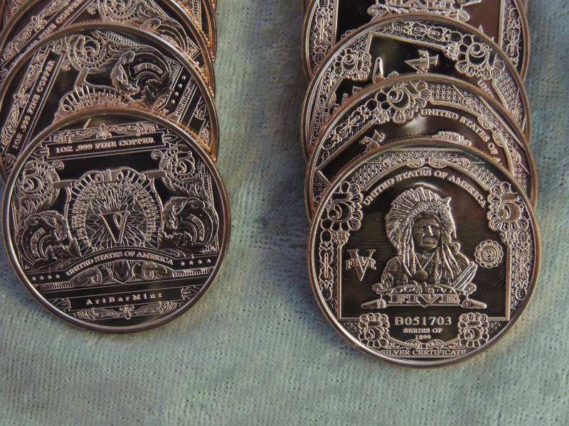 "20 x 1 oz .999 Copper Indian ""5 Dollars"" Coin by Art Bar Mint"