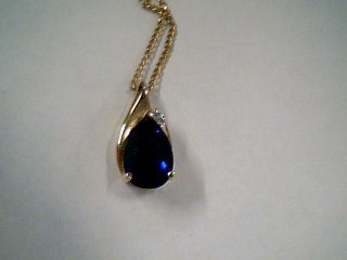 Synthetic Sapphire Diamond & Stone Necklace .01 CT. 10K Yellow Gold 2.3g